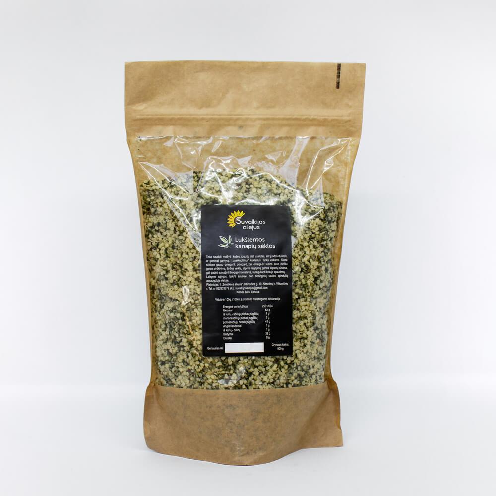Lukštentos kanapių sėklos, 500 g.